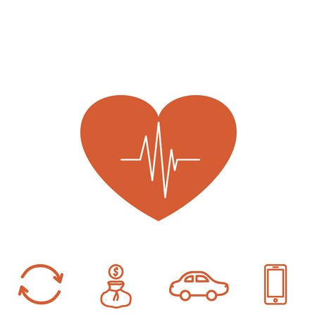 heart monitor: cardiology vector icon with heart and cardiogram Illustration