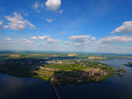 Aerial view. Houses and river in the city Dnepr, Ukraine. Stock Photo