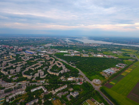 city park boat house: Aerial view. Houses and river in the city Dnepr, Ukraine. Stock Photo