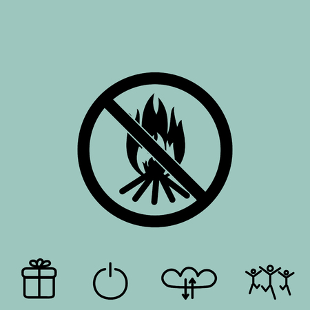 no bonfire vector icon