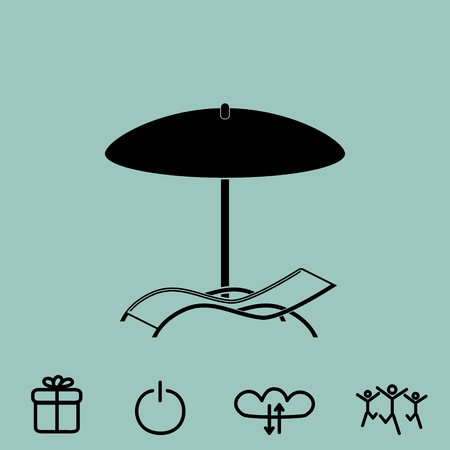 chaise longue under umbrella vector icon