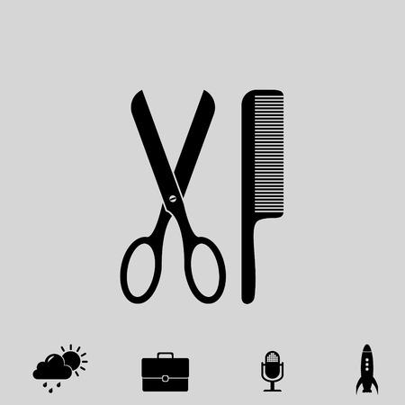 scissors and comb vector icon