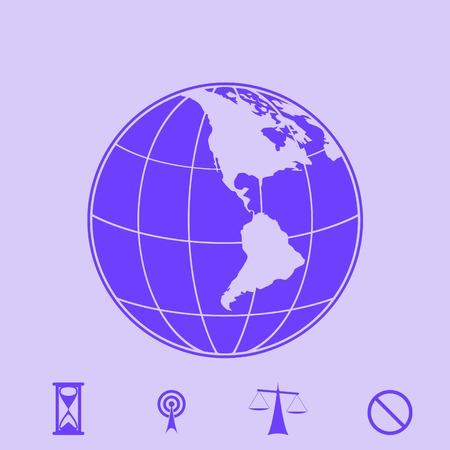 flat earth: globe vector icon Illustration