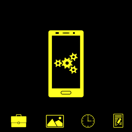 touch screen phone: adjustments of smartphone vector icon Illustration