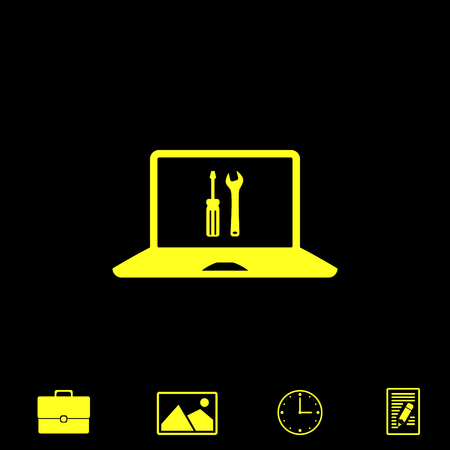 parameters: repair laptop vector icon Illustration