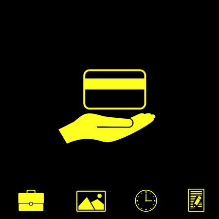 credit card holding vector icon Illustration