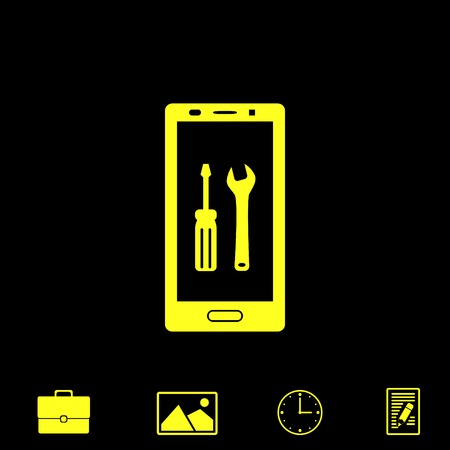 touch screen phone: repair smartphone vector icon