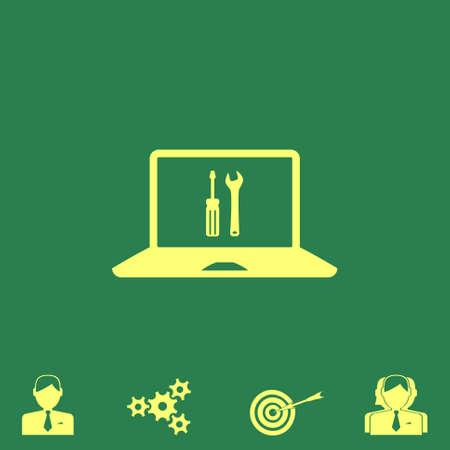 install: repair laptop vector icon Illustration