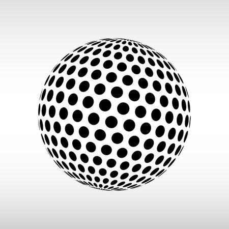 抽象世界点線球。3 d ハーフトーン効果のベクトルの背景。黒と白のベクトル図です。