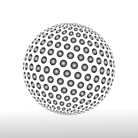 globe grid: Abstract globe dotted sphere. 3d halftone effect vector background. Black and white vector illustration.