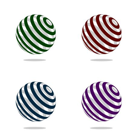 HI: 3d band sphere logo design element. Modern technology vector illustration.