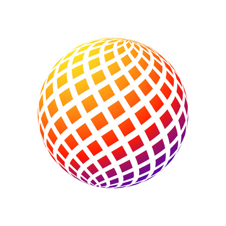 Abstract logo sphere. 3d halftone effect vector background. Color vector illustration. Illustration