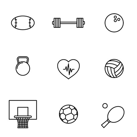 sports equipment: Vector illustration of thin line icons for sport. Linear symbols set. Illustration