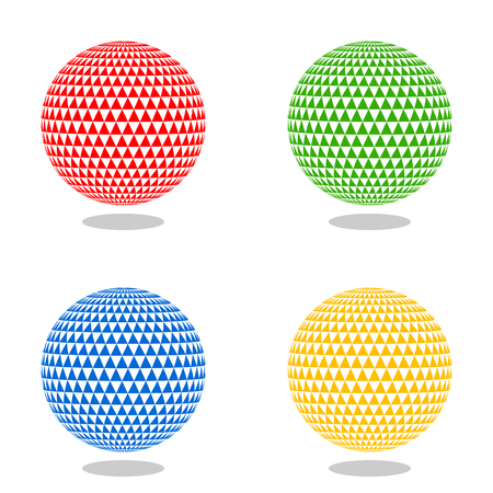 Abstract sphere of triangles. 3d effect vector background. Color vector set.