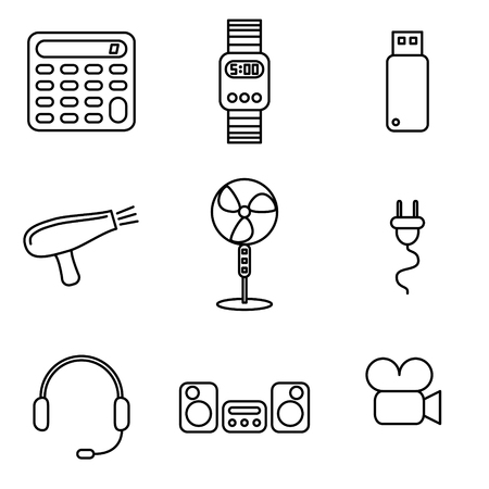 mobile communication: Vector illustration of thin line icons for electronics. Collection 14. Linear symbols set: calculator, watch, flash drive, hair dryer, fan, electric plug, headset, music center, camera. Illustration