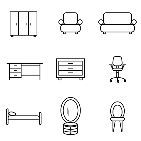 dining table and chairs: Vector Illustration of Thin Line Icons for Furniture. Editable Line. Collection 25. Linear Symbols Set: Wardrobe, Armchair, Sofa, Table, Chest of drawers, Office Armchair, Bed, Dressing table, Chair.
