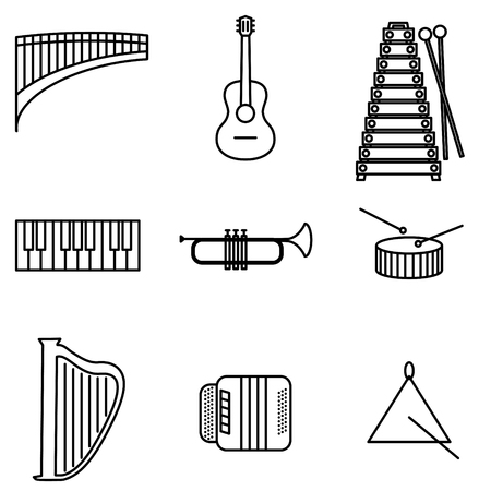 audio mixer: Vector Illustration of Thin Line Icons for Musical Instruments. Editable Line. Collection 26. Linear Symbols Set: Flute, Guitar, Metalophone, Piano Keyboard, Trumpet, Drum, Harp, Bayan, Triangle. Illustration