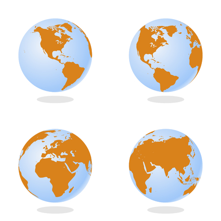 business graphics: Set of Abstract Globe with World Map. 3D Vector Illustration.