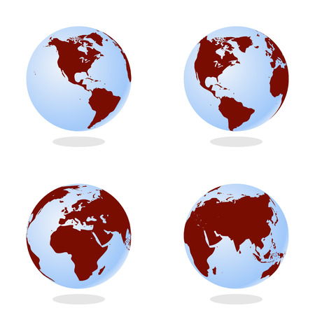 pacific ocean: Set of Abstract Globe with World Map. 3D Vector Illustration.