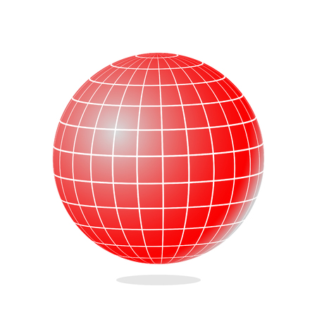 globe grid: Illustration of abstract red globe with meridians and parallels.