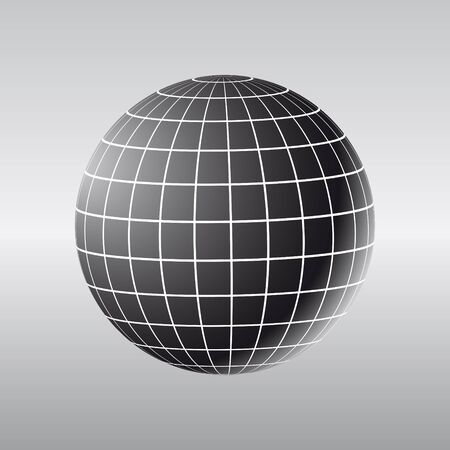Illustration of abstract globe with meridians and parallels in black.