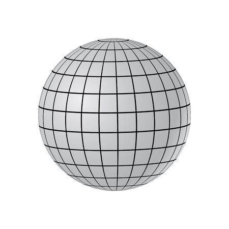 Ilustración del globo abstracto con meridianos y paralelos.