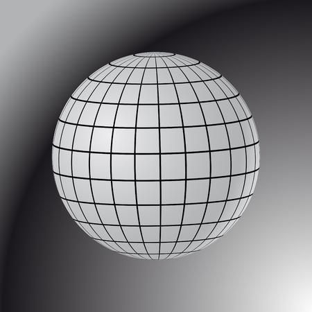 Globo abstracto con meridianos y paralelos. Ilustración de Vector 3D.