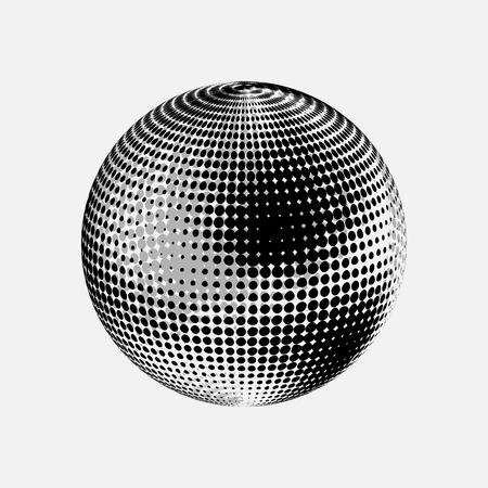 Black globe illustration.
