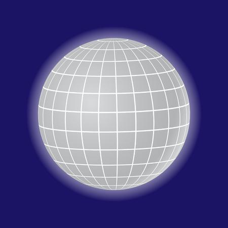 3d grey globe in blue illustration..
