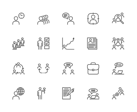 Simple Set of Head Hunting Related Vector Line Icons. Contains such Icons as Job Interview, Career Path, Add an Employee, Resume and more. Çizim