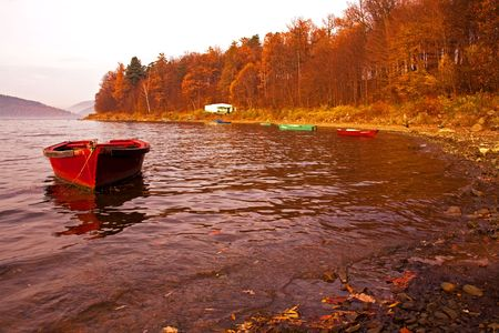 red boat on the lake