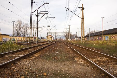 2 lines of rail tracks Stock Photo