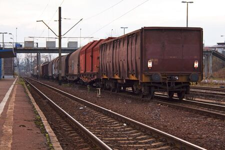 freight train near platform Stock Photo