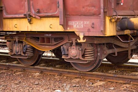 undercarriage: undercarriage of freight train wagon