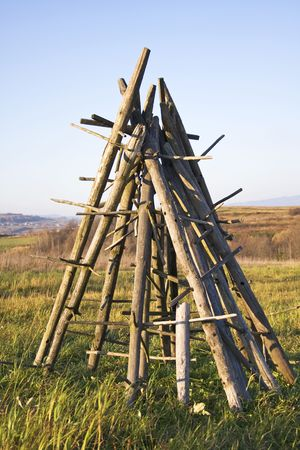 hay drying stand Stock Photo