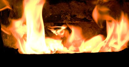 flames in furnace