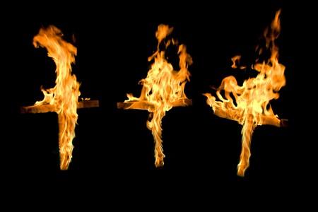 burning  christian crosses 2