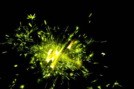 sparking bunch of green sparklers Stock Photo