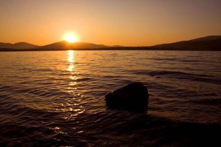 lovely sunset on the lake photo