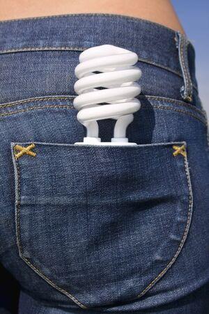 fluorescent bulb in back pocket Stock Photo