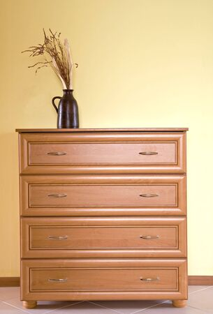 wooden dresser and decoration Stock Photo