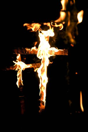 swelter: cross on fire Stock Photo