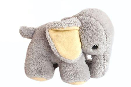 grey elephant on white, plush toy