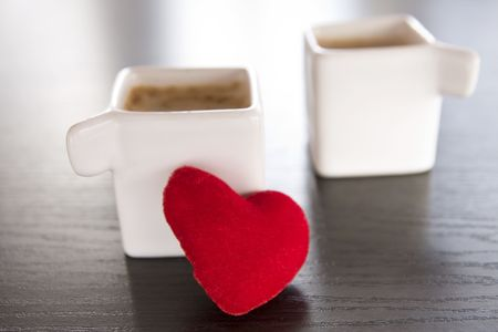 espresso with red heart