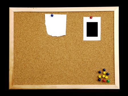 cork board on black background Stock Photo - 6448686