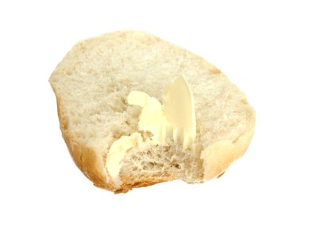 roll with butter, bitten on white background
