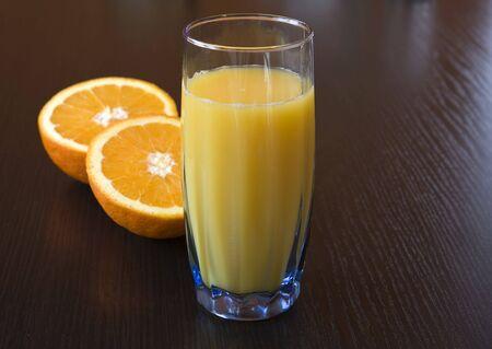 fresh orange juice on the table photo