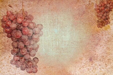 vintage abstract stationery paper with grape motives Stock Photo