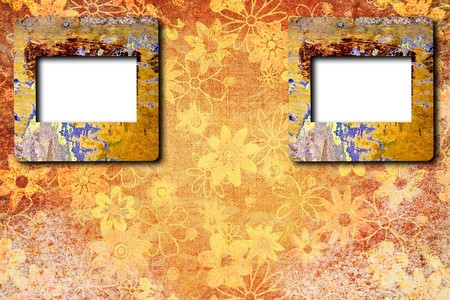 photo frames on cracked vintage background