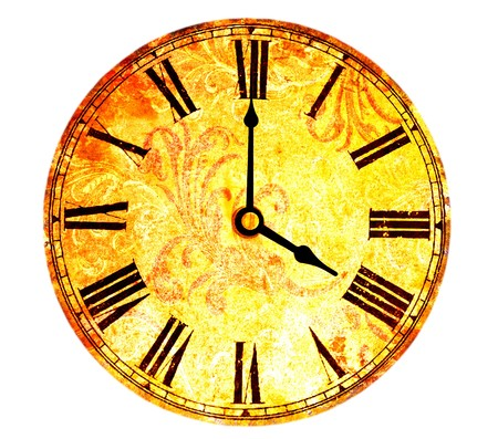 vintage clock on white background photo